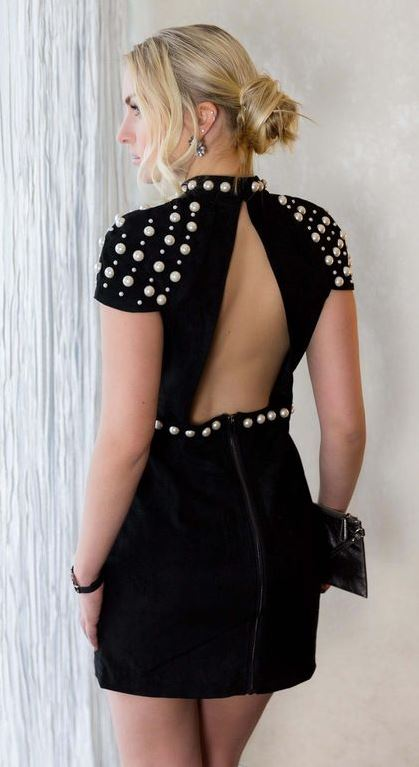 black on black | open back dress and clutch