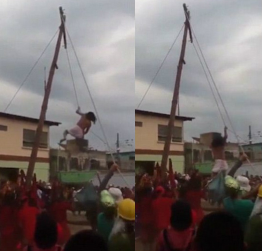 Man-acting-as-jesus-falls-from-the-cross-and-breaks-his