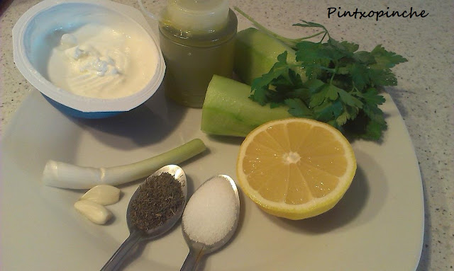 aceite, ajo, cacik, pepino, pintxos, salsas, yogurt, sin gluten