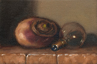 Still life oil painting of a turnip beside a small incandescent light bulb.