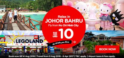 Đặt vé máy bay khuyến mãi Air Asia đến Johor Bahru giá từ 10USD