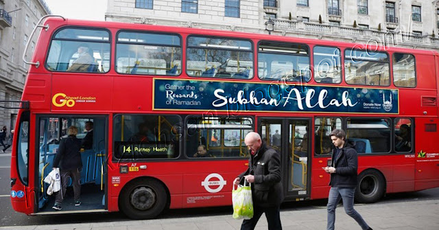 Bus-Bus di Inggris Memajang iklan Islamic Relief yang bertuliskan Subhana Allah