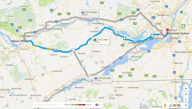 Viagem de carro de Ottawa a Montreal