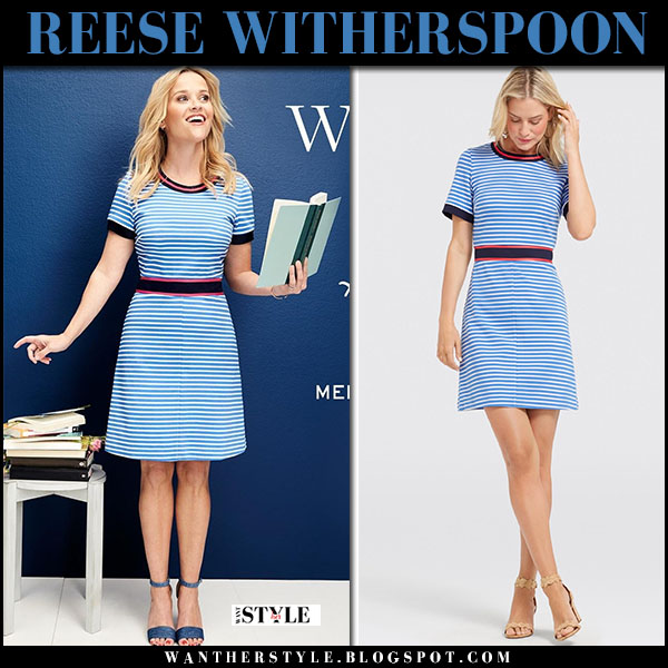 Reese Witherspoon in blue striped mini dress Draper James spring summer fashion 2018