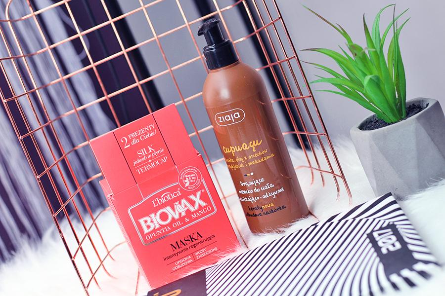 Maska do włosów Biovax - Opuntia Oil & Mango & Brązujące, nawilżająco - odżywcze mleczko do ciała, Ziaja Cupuacu