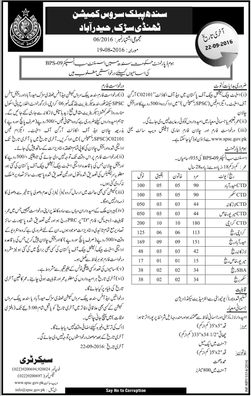 ASI Jobs in SPSC Sindh 2016