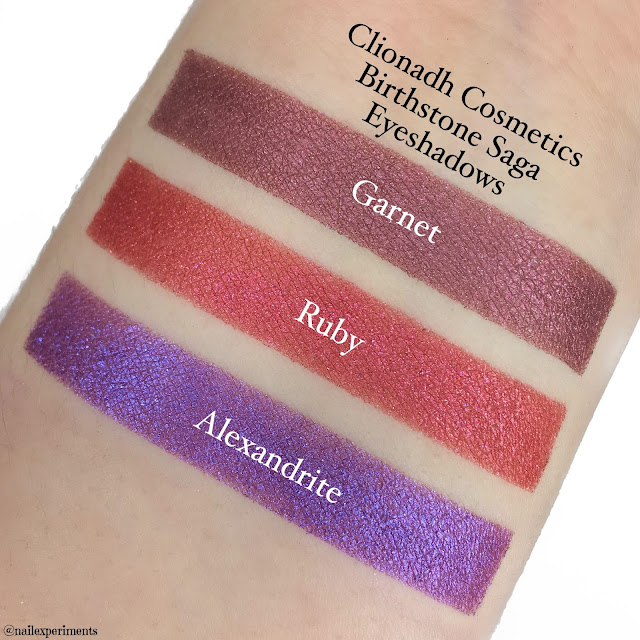 clionadh cosmetics birthstone saga eyeshadow swatches