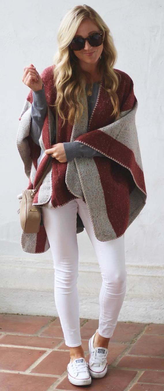 fashionable outfit : poncho + bag + skinnies + sneakers + top