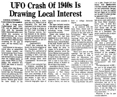 UFO Crash Of 1940s Is Drawing Local Interest - Lebanon Daily News 11-11-1974