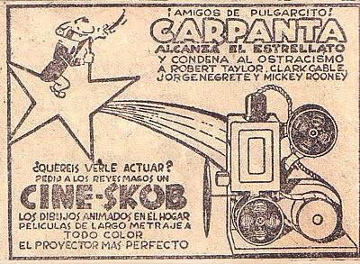 Publicidad de Cine Skob  con Carpanta publicada en Pulgarcito (Editorial Bruguera)