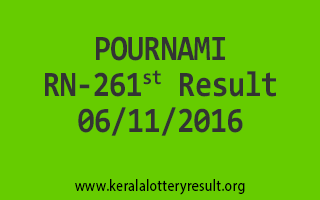 POURNAMI RN 261 Lottery Results 6-11-2016