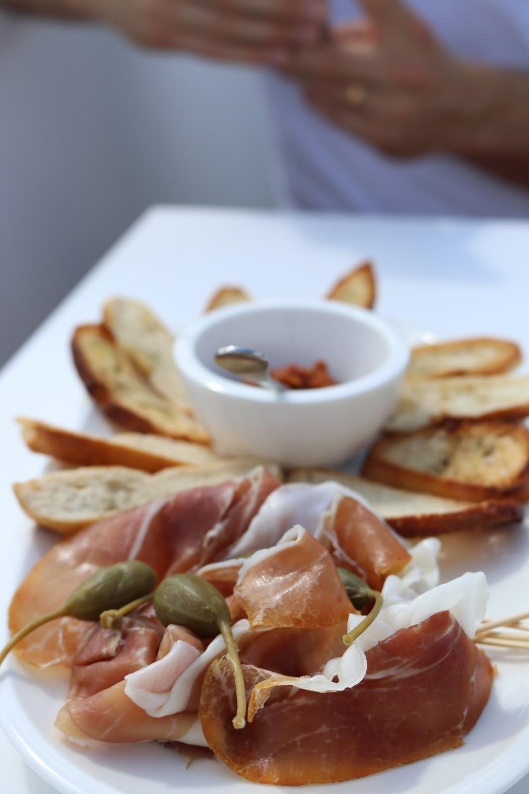 Tapas food platters, Galeries Lafayette rooftop, Paris, France