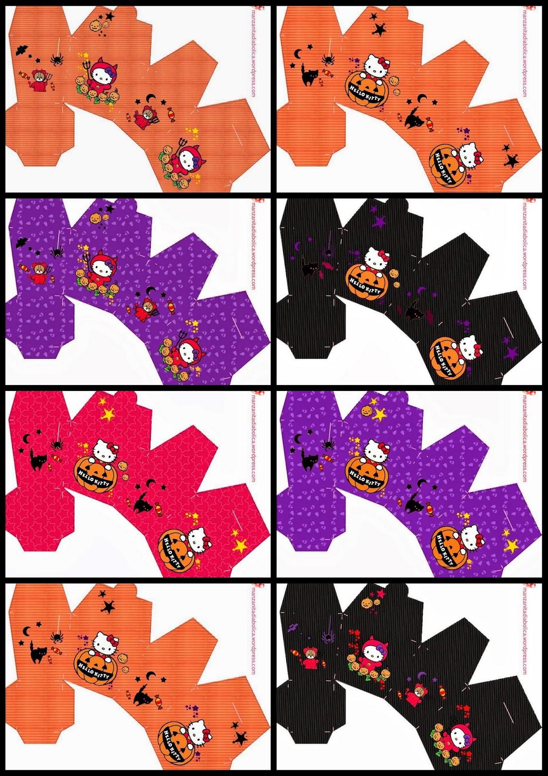 Preciosas Cajas de Hello Kitty en Halloween para Imprimir Gratis.