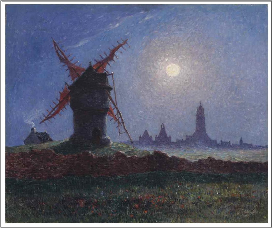 fernand loyen du puigaudeau 1864 1930 moulin de la masse au clair de lune bourg de batz 1906