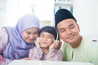 Family listening to girl on headphones