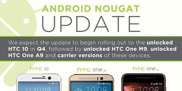 HTC 10, One M9 dan One A9 akan mendapatkan update Android v7.0 Nougat Q4 tahun ini