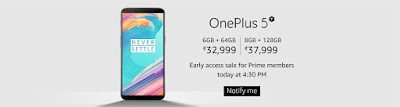 OnePlus 5T Sale today at 4.30PM