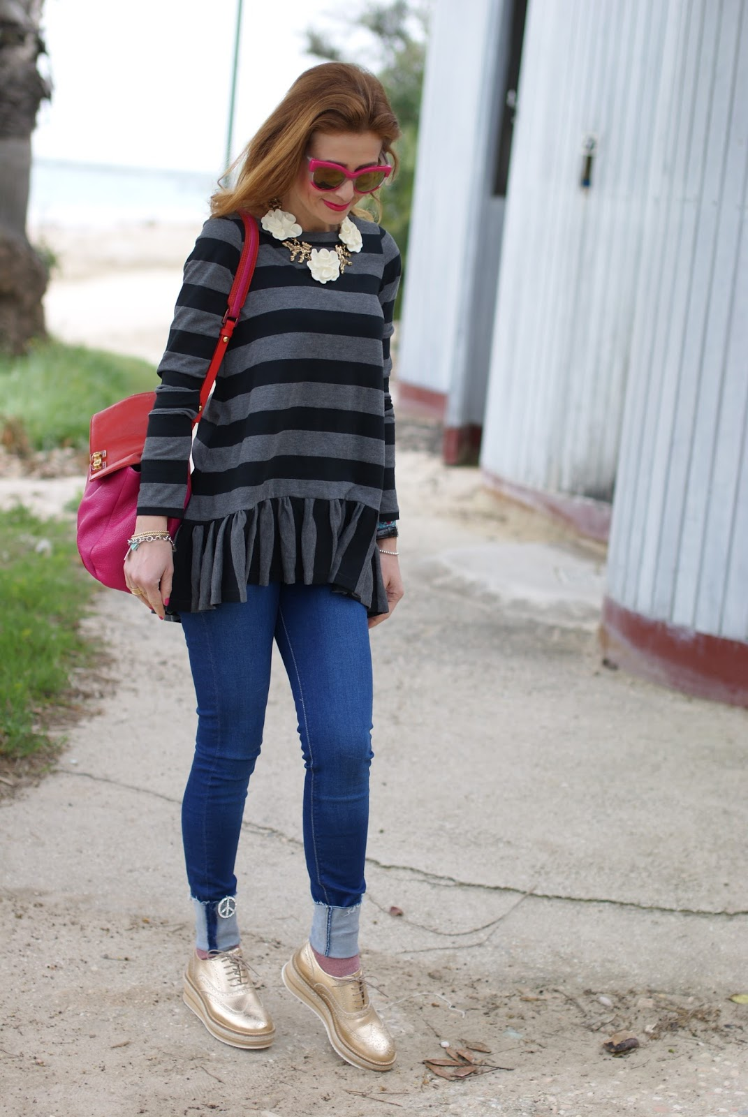 Stripes and ruffles top casual outfit on Fashion and Cookies fashion blog, fashion blogger style