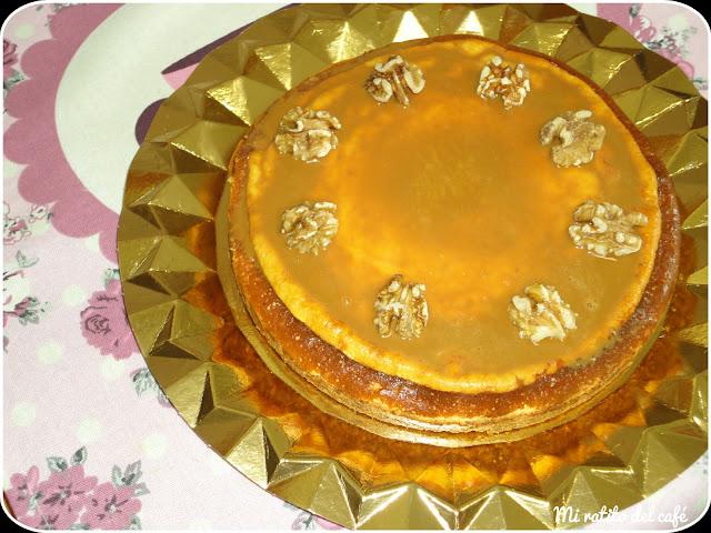 Cheesecake con nueces y dulce de leche