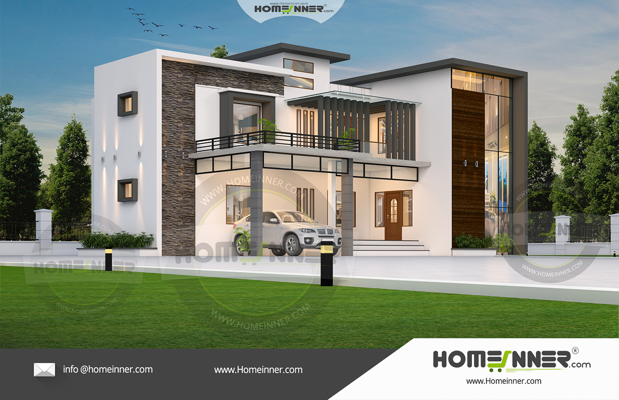 HIND-1000 contemporary styled 3300 sq ft 4 bedroom house plan