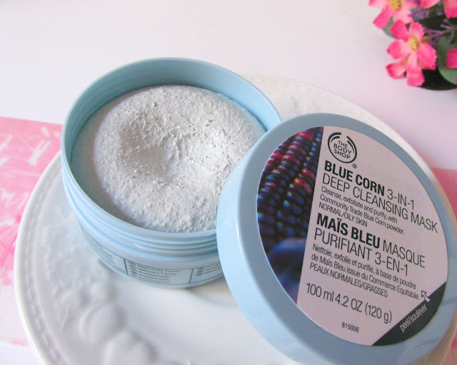 The Body Shop blue corn 3-in-1 deep cleansing mask