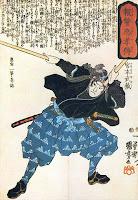 Miyamoto Musashi, in anii tineretii, inarmat cu două bokken (sabie de lemn, folosita in general la antrenamente). Imprimeu pe lemn de Utagawa Kuniyoshi.