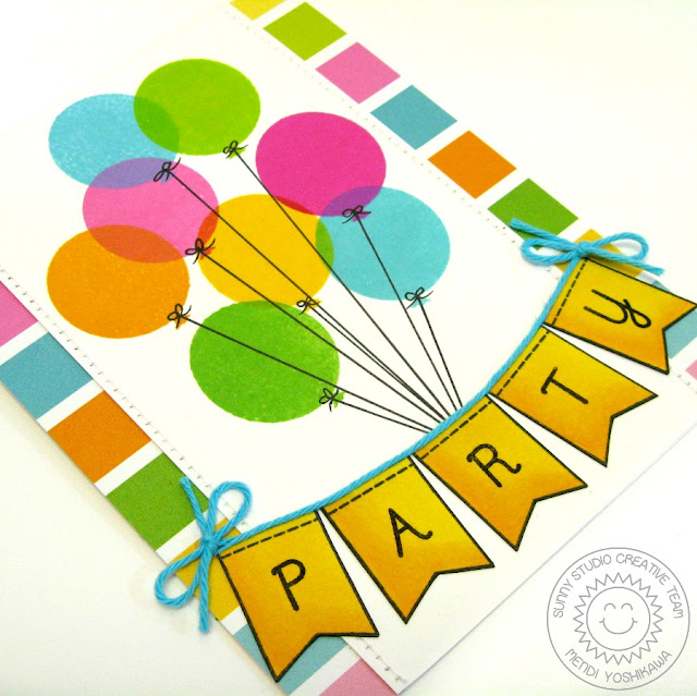 Sunny Studio Stamps: Birthday Smiles Balloons Birthday Party Banner Card by Mendi Yoshikawa