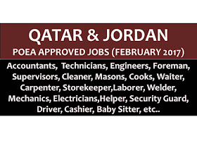 The following are jobs approved by POEA for deployment to Qatar and Jordan. Job applicants may contact the recruitment agency assigned to inquire for further information or to apply online for the job.  We are not affiliated to any of these recruitment agencies.   As per POEA, there should be no placement fee for domestic workers and seafarers. For jobs that are not exempted on placement fee, the placement fee should not exceed the one month equivalent of salary offered for the job. We encourage job applicant to report to POEA any violation on this rule.