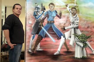 Mural w pokoju chłopca, gwiezdne wojny, aranzacja ściany w pokoju młodzieżowym ,pokój nastolatjka gwiezdne wojny
