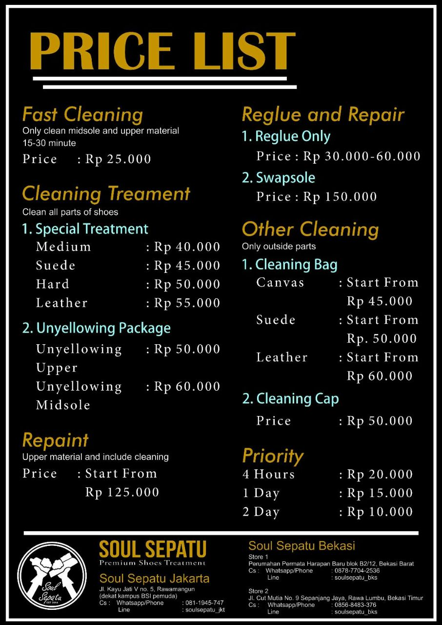 Price list Soulsepatu.com