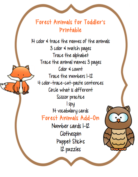 preschool packet forest animals preschool printables. Black Bedroom Furniture Sets. Home Design Ideas