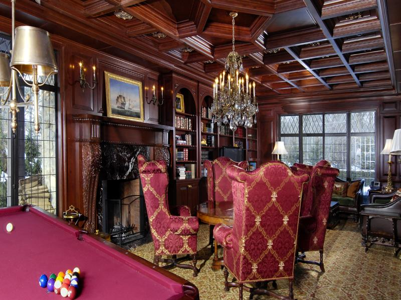 Wooden Coffered Ceiling Here With A Decorative Arched Built In Bookcase And Crystal Chandelier This Room Is The Complete Victorian Parlor Interior