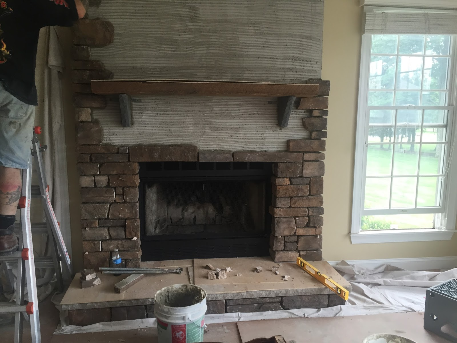 Stone Fireplace Progress