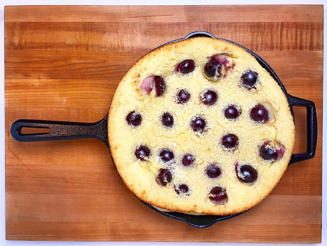 Overhead of Clafoutis Baked in Cast Iron Pan