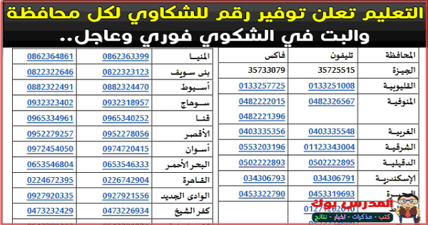 أرقام التواصل مع وزارة التربية والتعليم الخط الساخن جميع المحافظات