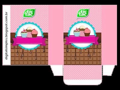 Caja Tic Tac para Imprimir Gratis de Chicas Haciendo Cupcakes.