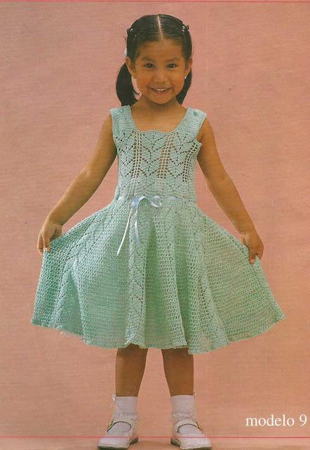 Patrón #769: Vestido con Tirantes y Acampanado a Crochet