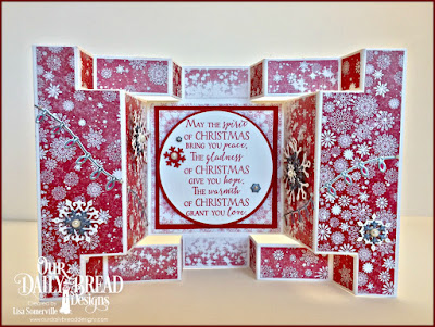 Our Daily Bread Designs Stamp Set: Merry & Bright, Our Daily Bread Designs Fun and Fancy Folds - Double Display, Our Daily Bread Designs Custom Dies: Christmas Lights, Snow Crystals, Circles, Pierced Circles, Pierced Rectangles, Rectangles, Our Daily Bread Designs Paper Collection: Snow Crystals