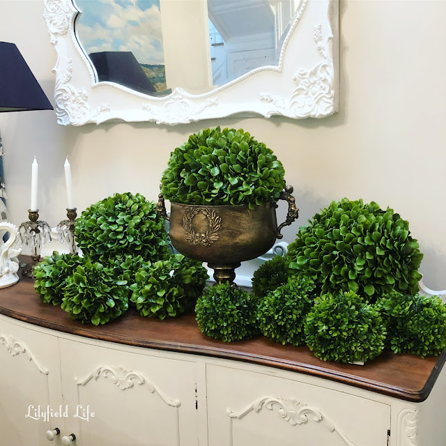 faux boxwood topiary balls