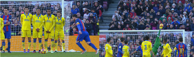 Parada de Javi Varas a falta lanzada por Messi
