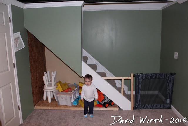 finished basement storage area