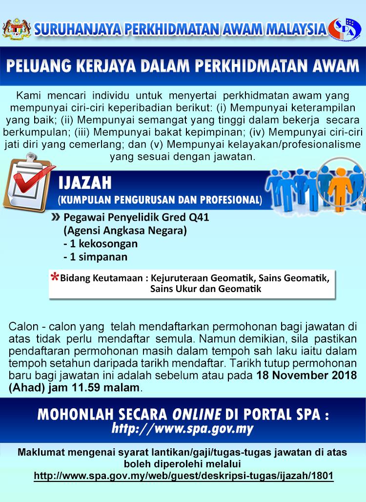 jawatan kosong Agensi Angkasa Negara (ANGKASA) 2018
