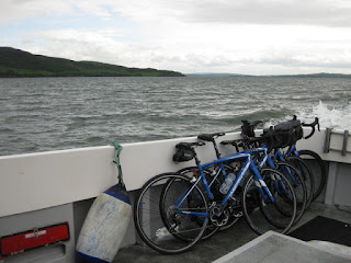 Bikes stowed on the Enterprise fishing boat, crossing Lough Swilly toward Inishowen, Ireland