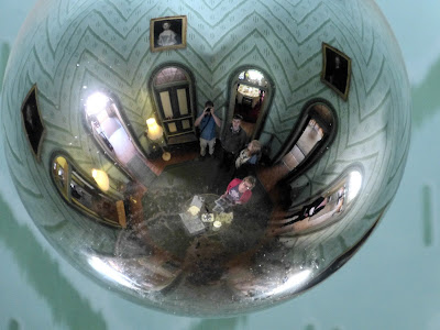 The Octagon, A la Ronde, as reflected in the the glass globe hanging down in the centre of it.