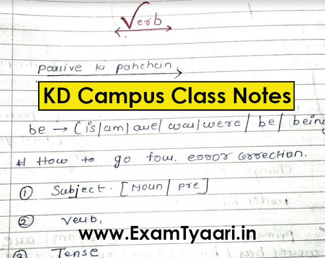 KD Campus Class Notes SSC CGL English PDF - Exam Tyaari