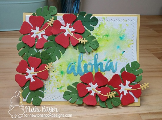 Hibiscus card by Naki Rager | Hibiscus Die set by Newton's Nook Designs #newtonsnook