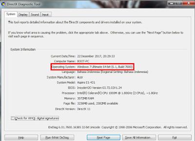 Cara cek sistem operasi windows 32-bit atau 64-bit