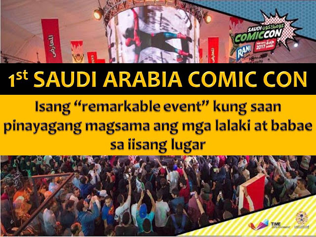 Saudi Arabia. A country where men and women are typically separated in public places.  But last week, more than 20,000 men, women, and families co-mingled at Saudi Comic Con, a global comics expo held in Jeddah that gave them a chance to mingle with others who share their passion for comics, movies, video games and other pop culture.  Comic book video game and anime fans celebrate the event together even they don't share the same gender.