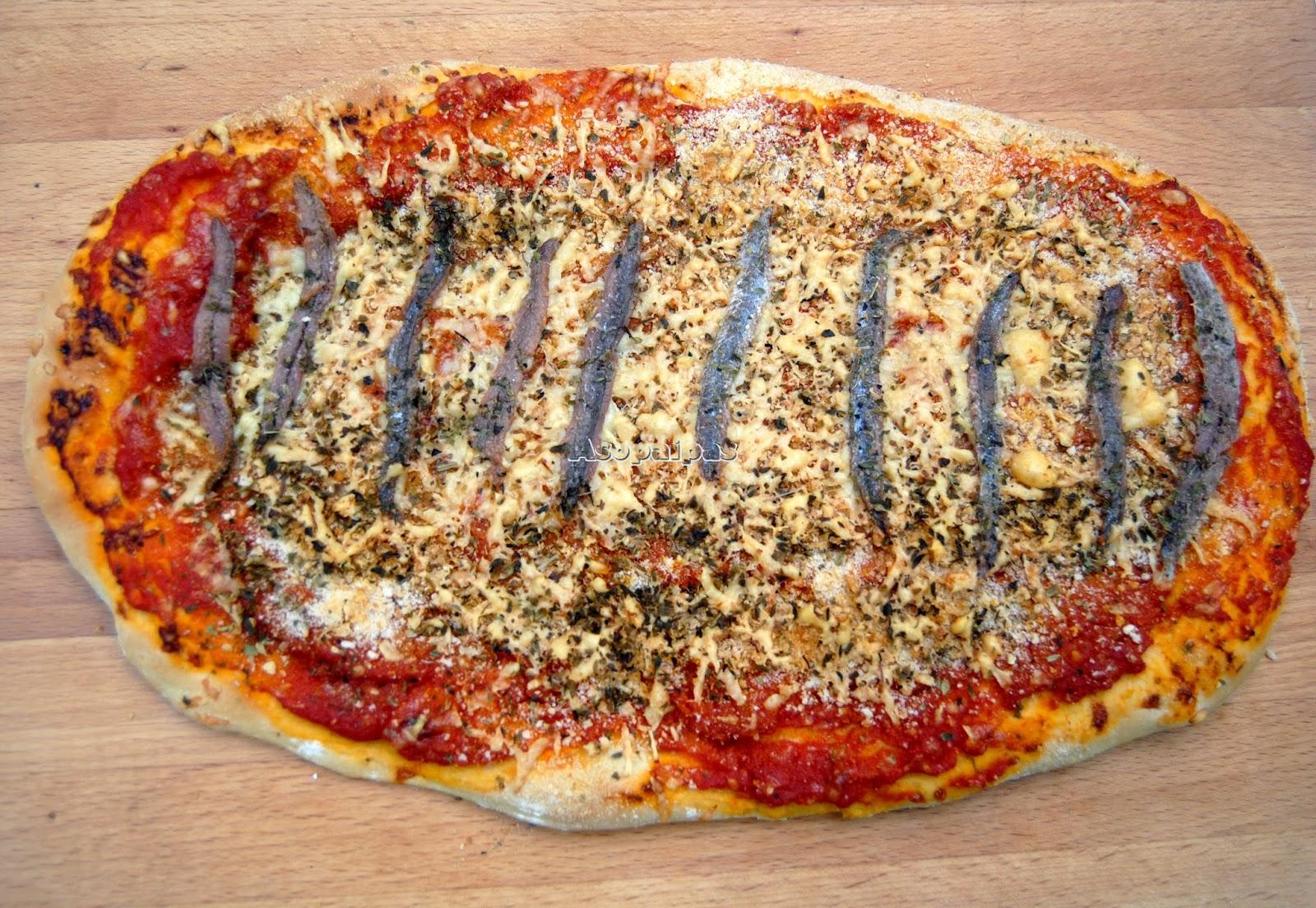 Sfincione Pizza Parlemitana con anchoas y pan rallado