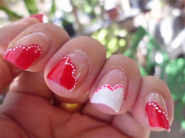 nail art rojo y blanco